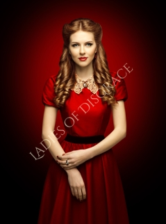 Woman Red Dress, Fashion Model in Retro Clothes Lace Collar